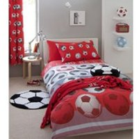 Catherine Lansfield Football Duvet Set - Red - Double - Red - Bedding Gifts