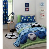 Catherine Lansfield Football Duvet Set - Blue - Double - Blue