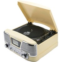 GPO Retro Memphis Turntable 4-in-1 Music System with Built in CD and FM Radio - Cream - Music Gifts
