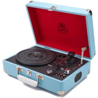 GPO Retro Attache Briefcase Style Three-Speed Portable Vinyl Turntable with Free USB Stick and Built-In Speakers - Sky Blue - Style Gifts