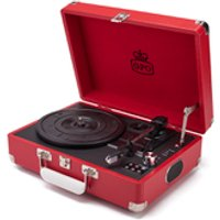 GPO Retro Attache Briefcase Style Three-Speed Portable Vinyl Turntable with Free USB Stick and Built-In Speakers - Red - Usb Gifts