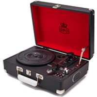 GPO Retro Attache Briefcase Style Three-Speed Portable Vinyl Turntable with Free USB Stick and Built-In Speakers - Black - Style Gifts