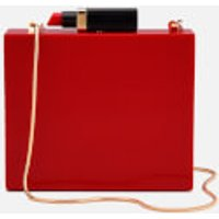 Lulu Guinness Womens Chloe Perspex Clutch Bag with Lipstick - Red