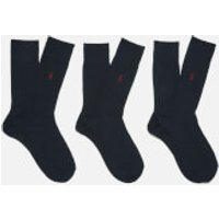 Polo Ralph Lauren Men's Egyptian Cotton Ribbed Socks (3 Pack) - Navy - UK 9-12/EU 43-46 - Blue