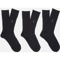 Polo Ralph Lauren Men's Egyptian Cotton Ribbed Socks (3 Pack) - Black - UK 6-9/EU 40-43 - Black