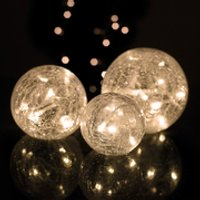 Parlane Set of 3 Glass Crackle Ball Lights- White