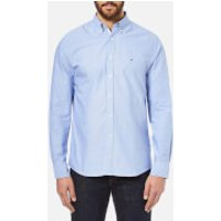 Tommy Hilfiger Mens Plain Oxford Long Sleeve Shirt - Blue - XL - Blue