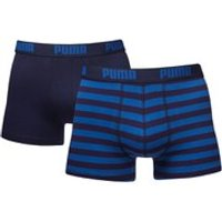 Puma Mens 2 Pack Striped Boxers - Navy/Royal - M - Navy/Royal