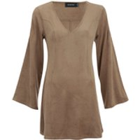 MINKPINK Womens Truth Potion Micro Suede Bell Sleeve Shift Dress - Tan - UK 6 - Tan
