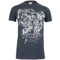 Marvel Men's Band of Heroes T-Shirt - Dark Heather - L - Grey