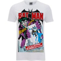 DC Comics Men's Batman Joker's Back in Town T-Shirt - White - L - White - Batman Gifts