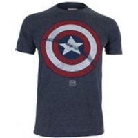 Marvel Mens Captain America Shield T-Shirt - Heat - L - Blue