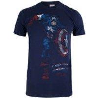 Marvel Men's Captain America T-Shirt - Navy - S - Blue