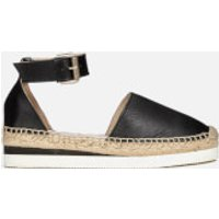 See By Chloe Women's Leather Espadrille Flat Sandals - Black - 4 - Black
