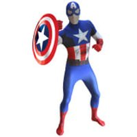Morphsuit Adults' Deluxe Zapper Marvel Captain America - L - Blue