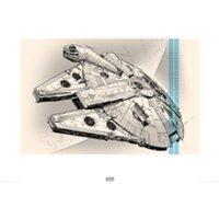 Star Wars: Episode VII - The Force Awakens Millennium Falcon - 60 x 80cm Pencil Art Print