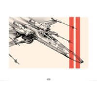 Star Wars: Episode VII - The Force Awakens X-Wing - 60 x 80cm Pencil Art Print