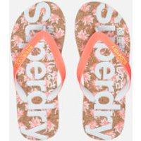 Superdry Women's Printed Cork Flip Flops - Fluro/Coral Palm Print - L - Multi
