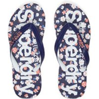 Superdry Womens Aop Flip Flops - Navy/Coral/Optic - M - Multi