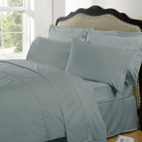 Highams 100% Egyptian Cotton Plain Dyed Bedding Set - Duck Egg [China Sizing Only] - Large/220x240cm - Blue - China Gifts
