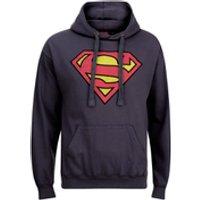 DC Comics Men's Superman Distress Logo Hoody - Petrol Blue - XL - Blue - Comics Gifts