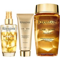 Krastase Elixir Ultime Huile Lavante Bain 250ml, Elixir Ultime Fondant Conditioner 200ml and Fine Hair Oil 100ml Bundle