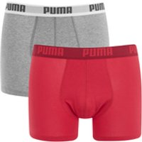 Puma Men's 2 Pack Basic Boxers - Red/Grey - S - Red/Grey - Boxers Gifts
