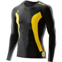 Skins DNAmic Mens Long Sleeve Top - Black/Citron - L - Black/Yellow