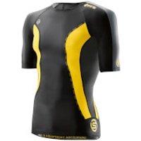 Skins DNAmic Mens Short Sleeve Top - Black/Citron - L - Black/Yellow