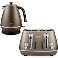 DeLonghi Distinta 4 Slice Toaster and Kettle Bundle - Bronze Finish