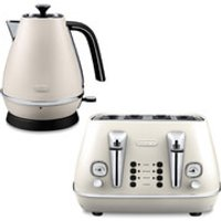 DeLonghi Distinta 4 Slice Toaster and Kettle Bundle - White Finish