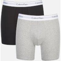 Calvin Klein Mens 2 Pack Boxer Briefs - Black/Grey Heather - S - Black/Grey