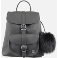 Grafea Womens Fluffy Fur Pom Backpack - Black