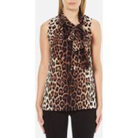 Boutique Moschino Women's Tie Neck Top - Leopard - EU 44/UK 12 - Multi