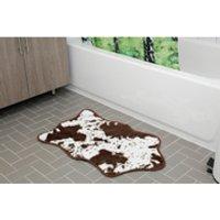 cowhide bath rug  brown