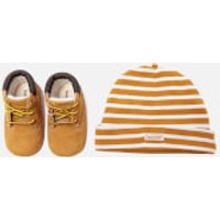 Timberland Babies' Crib Bootie with Hat Gift Set - Wheat - UK 1.5 Baby - Tan