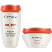 Kerastase Nutritive Bain Satin 2 250ml & Masquintense Cheveux Epais (For Thick Hair) 200ml