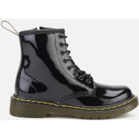 Dr. Martens Kids Delaney Patent Lamper Leather 8-Eye Lace Up Boots - Black - UK 11 Kids - Black