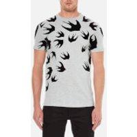 McQ Alexander McQueen Men's Swallow Swarm Flock T-Shirt - Mercury Melange - XXL - Grey