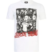 DC Comics Mens Suicide Squad Harley Quinn and Squad T-Shirt - White - S - White