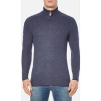 Superdry Mens Harlo Henley Jumper - Dark Indigo/Navy Twist - S - Navy