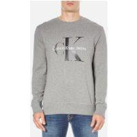 Calvin Klein Mens Crew Neck Sweatshirt - Mid Grey Heather - L - Grey