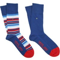 Levi's Men's 168Sf Regular Cut Stripe 2 Pack Socks - Blue - EU 39-42/UK 6-8 - Blue
