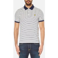 Lyle & Scott Mens Short Sleeve Breton Stripe Polo Shirt - Off White - M - Cream