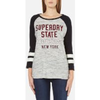 Superdry Women's Football Applique Top - Canyon Grey Marl/Black - XS - Black