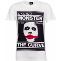 DC Comics Men's Batman The Joker The Curve T-Shirt - White - XL - White - Batman Gifts