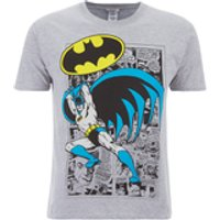 DC Comics Men's Batman Comic Strip T-Shirt - Grey - L - Grey - Batman Gifts