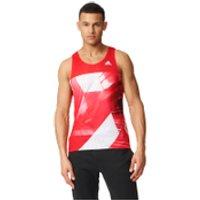 adidas Mens Adizero Running Singlet - Red - XL