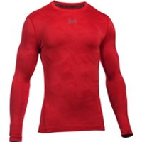 Under Armour Mens ColdGear Jacquard Crew Long Sleeve Shirt - Red/Graphite - L - Red/Black