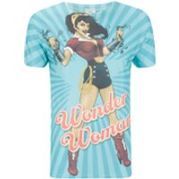 DC Comics Men's Bombshell Wonder Woman T-Shirt - Blue - L - Blue - Women Gifts